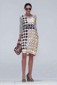 Tribal geometric printed silk dress by Maliparmi