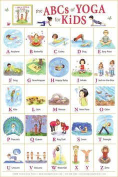ABC yoga for kids. Learning the ABC and learning poses for yoga! Yoga For Kids, Exercise For Kids, Kids Yoga Poses, Children Poses, Young Children, Stretches For Kids, Morning Stretches, Abc For Kids, Morning Yoga