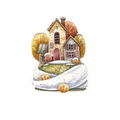 No photo description available. Autumn Illustration, House Illustration, Watercolor Sketch, Watercolor Illustration, Watercolor Paintings For Beginners, Traditional Paintings, Cool Paintings, Painting Inspiration, Cute Art