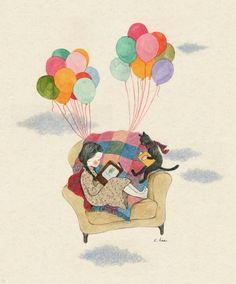Image shared by Naty. Find images and videos about girl, cat and wallpaper on We Heart It - the app to get lost in what you love. Funny Illustration, Illustrations, Cartoon Drawings, Art Drawings, Et Wallpaper, Belle And Boo, Chibi Girl, Korean Artist, Whimsical Art