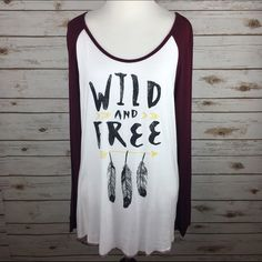 "[Pretty Rebel] Wild & Free Raglan Graphic Tee Super soft and cool long sleeve graphic tee. Baseball sleeves with wide Crew neck. Longer length with slight hi low hem. Fun boho vibes.  Color: Burgundy, White, Black Fabric: 95% Rayon 5% Spandex Size: Large Bust: 19"" Length: 28"" in front 32"" in back. Condition: NWOT. Never been worn!  No Trades! No PayPal! Pretty Rebel Tops Tees - Long Sleeve"