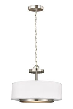 Nance 2- Light Semi-Flush Convertible Pendant by Sea Gull Lighting: Versatile  design which fits in a wide array of traditional or contemporary settings. The tapered, off-white, faux silk shades add warmth and sophistication. The large pendant and semi-flush faux silk drum shades are complemented nicely with Satin Etched Opal glass diffusers to soften the downlight. The Brushed Nickel finish adds the perfect touch to any foyer, kitchen or dining area.