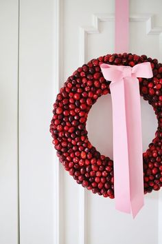 Beautiful, festive DIY cranberry wreath