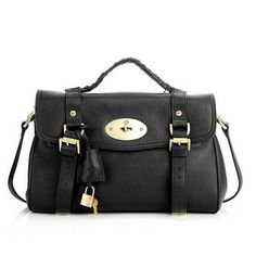 c42ce70b6fcf New Style Mulberry Oversized Alexa Bag Black Natural Leather
