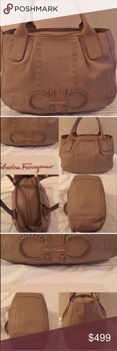 Salvatore Ferragamo Tan/beige salvatore ferragamo small handbag inside has a zip up compartment and two other pockets. it's about 2 years old the outside is in good condition inside the material has a white spot( not sure how it happen) has some pen marks I've hardly used it it's too small for me I prefer big handbags it comes with a dust bag ... price is firm!!! Look at other listing for more pics if you want a pic I didn't show ask and I will take more Salvatore Ferragamo Bags Totes