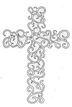 Cross Scroll Saw Stencil Pattern Wood Burning Crafts, Wood Burning Patterns, Wood Crafts, Diy Wood, Silhouette Cameo, Scroll Pattern, Scroll Saw Patterns, Scroll Design, Free Pattern