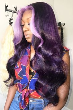 Purple Wig Best Hair Dye For Dark Hair Ashy Purple – porjack Purple Wig, Hair Color Purple, Purple Hair Black Girl, Purple Weave Hair, Curly Purple Hair, Blue Ombre Wig, Deep Red Hair, Black Girls, My Hairstyle