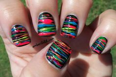 Neon Spun Sugar Nails