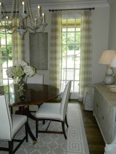 Phoebe Howard - BM Winter Wheat w/White Dove trim... Love these sheer window treatments..