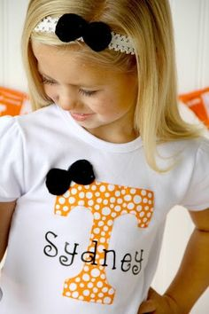 Girls Tennessee UT Vols Shirt with by SweetDesignsBtque on Etsy, $19.95
