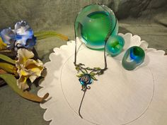 Vintage Pot Metal Enameled Flower Necklace by EstateVintTreasures, $30.00
