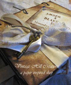Wedding Guest Book Vintage Elegant Custom by vintagehillcreations