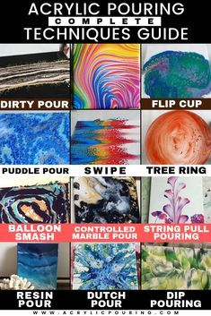 Master the art of acrylic pouring with this technique guide acrylicpouring techniques acrylicpouringguide flipcup cleanpour puddlepour dirtypour swipe basics Acrylic Painting Flowers, Simple Acrylic Paintings, Acrylic Painting For Beginners, Acrylic Painting Tutorials, Beginner Painting, Abstract Flowers, Acrylic Painting Canvas, Diy Canvas, Abstract Art