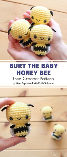 Bzzzz… Bee Amigurumi Ideas Free Crochet Patterns Burt the Baby Honey Bee Free Crochet Pattern Related posts:Conejito amigurumi crochet patrón libre - Página 2 de 2 - Patrones de amigurum.Morris the baby seal free crochet. Crochet Mignon, Crochet Bee, Crochet Motifs, Crochet Patterns Amigurumi, Cute Crochet, Knitting Patterns, Crochet Animals Patterns Free, Kawaii Crochet, Crocheted Animals