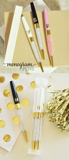 Possible hostess gift Personalized Pens - Monogram Pens - Hostess Gifts - Office Gifts for Co Workers - Bridesmaid Gift Ideas (EB3138) - set of 3 PENS by ModParty on Etsy https://www.etsy.com/listing/293134533/personalized-pens-monogram-pens-hostess
