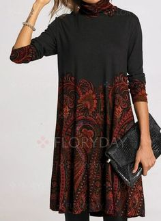 General Tunic Gray Day Dresses Polyester Casual Shift Dress Spring Long Sleeve Summer Floral Fall S M Knee-Length L XL Embroidery XXL High Neckline Dress High Neckline Dress, High Collar Dress, Shift Dresses, Midi Dresses, Floral Dresses, Women's Fashion Dresses, Casual Dresses, Fall Dresses, Floryday Vestidos
