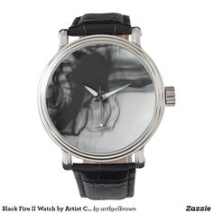Black Fire II Watch designed by Artist C.L. Brown features fire photography converted to black and white and is available in a variety of styles on Zazzle.