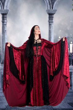 Gwendolyn Medieval Wedding Gown Velvet and Lace with Cape Custom. $625.00, via Etsy.