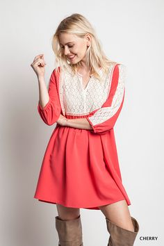 When you think about the perfect spring outfit - this babydoll dress says it all! For a daytrip or cute dress for the office, we just love the color and flattering fit. This dress looks great with boots or sandals - and you know we love the lace detail!!