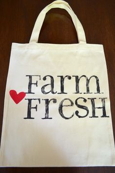Canvas Tote Farm Fresh by SignedByBradley on Etsy