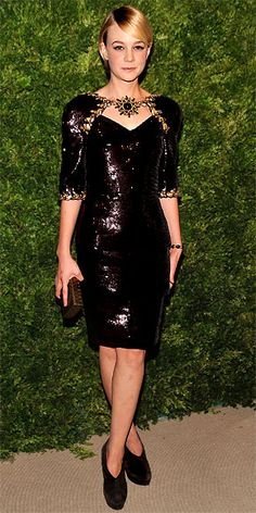 Carey Mulligan - The newly announced Daisy Buchanan in Baz Luhrmann's Great Gatsby remake wore a sequin embroidered Chanel Haute Couture dress and suede booties to the CFDA Fashion Fund Awards in N.Y.C.