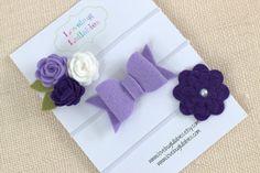 Baby Shower Gift Set Headband Idea  Purple Lilac Felt Flower Bow Headband or Hair Clips Set of 3; Baby Newborn Toddler Child Felt Bow; Baby Shower Gift; Newborn Photo Prop
