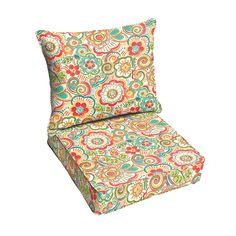 Red Rio Floral Indoor/ Outdoor Corded Chair Cushion And Pillow Set