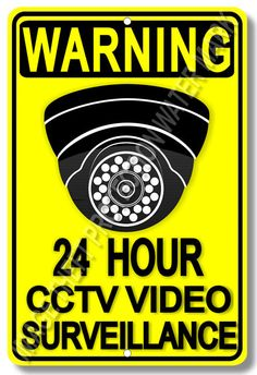 Warning 24 Hour CCTV Home House Business Video Surveillance Aluminum Sign New #YouniqueNoveltyGifts