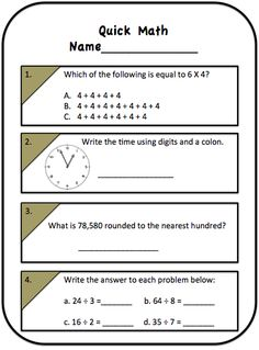 It's time for a little 3rd grade math review with this freebie! Great to use first thing in the morning, for group review, or homework! Get links to math game sites that help with that review here too!