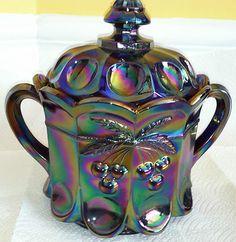 "Vintage Irridescent Carnival Glass ""Cookie Jar"" w/Handles Blue Cherry Design"