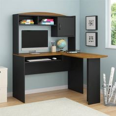 mainstays lshaped desk with hutch multiple finishes black cherry want to know more click