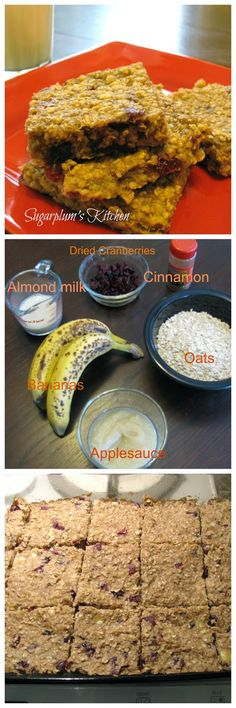 A healthier snack bar with no added sugar! And tastes great too! Healthy Banana Oatmeal Bars Sugarplumskitchen.com