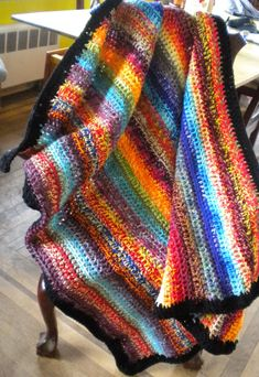 Inspiration: Crochet Afghan blanket multi colored shabby chic Cozy Warm striped double yarn acrylic heavy colorful
