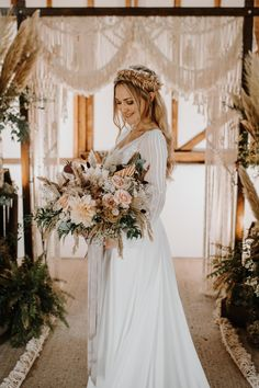 Bride with Plaited Hair and Beautiful Bouquet | By Melissa Rowland | Boho Wedding | Boho Bride | Pampas Grass Decor for Wedding | Dried Flower Bouquet | Blush Wedding Flowers | Macrame Wedding Decor | Macrame Decor Ideas | Boho Wedding Decor | Bridal Hairpiece | Boho Bride | Summer Wedding Bouquets, Blush Wedding Flowers, Diy Wedding Bouquet, Wedding Flower Arrangements, Plaits Hairstyles, Dried Flower Bouquet, Boho Wedding Decorations, Boho Bride, Grass Decor