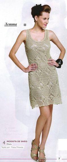Crochetemoda: Vestido Bege de Crochet ~ Diagrams/Charts ~ Not in English