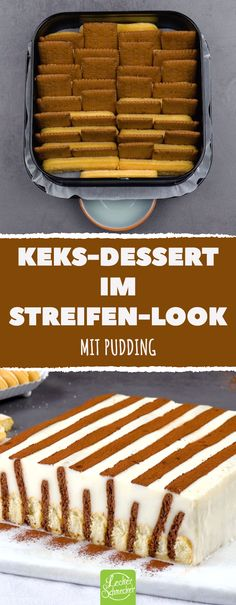 Keks-Dessert im Streifen-Look - Keks-Dessert im Streifen-Look mit Pudding Informationen - Easy Homemade Desserts, Homemade Vanilla Cake, Easy Vanilla Cake Recipe, Homemade Cake Recipes, Chocolate Cake Recipe Videos, Chocolate Chip Recipes, Apple Cake Recipes, Dessert Cake Recipes, 3 Ingredient Cakes