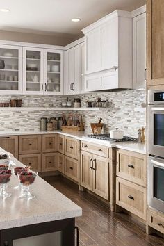 Rustic Wood Kitchen Cabinets - When you tired by using your old cabinet design, today you may obtain a fresh stylish rustic kitchen cabinet that could provide you a fresh refreshment in your home. Farmhouse Kitchen Cabinets, Rustic Cabinets, Farmhouse Style Kitchen, Modern Farmhouse Kitchens, Kitchen Cabinet Design, Kitchen Cabinetry, Home Decor Kitchen, Kitchen Ideas, Kitchen Countertops
