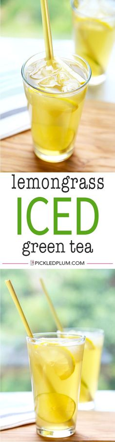 """Lemongrass Iced Green Tea - Launch your summer iced tea to next-level freshness with this super-simple Lemongrass Iced Green Tea Recipe. Crisp, citrusy, ice-cold and ready in no time! Recipe, drinks, tea, healthy, beverage 