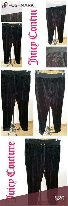 """🎀Juicy Couture black velour sweatpants lounge S Comfy sweatpants by Juicy Couture Sz S Black velour Cotton poly so soft Sz S Waist 29"""" Hips 38"""" Rise 8 3/4"""" Inseam 30 1/4"""" Side pockets Narrows at bottoms with ribbed cuffs Excellent condition ...only woth once Juicy Couture Pants Track Pants & Joggers"""