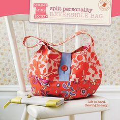 Split Personality Reversible Bag ~ Straight Stitch Society. Free pattern!