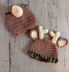Newborn Crochet Deer Outfit is the perfect accessory for a first photo shoot or baby shower gift for the family of hunters or Deer lovers.