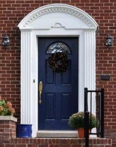Front Door Paint Colors - Want a quick makeover? Paint your front door a different color. Here a pretty front door color ideas to improve your home's curb appeal and add more style! Purple Front Doors, Painted Front Doors, Front Door Colors, Blue Doors, Exterior Paint Colors For House, Paint Colors For Home, Paint Colours, Brick Design, Door Design