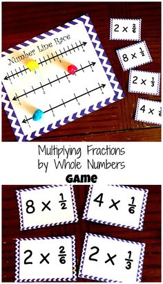 Using games are a great way to practice Multiplying Fractions By A Whole Number. This free game is a great way to for children to practice this skill. Fraction Games, Fraction Activities, Math Resources, Math Games, Math Strategies, Math Activities, Multiplying Fractions Game, Dividing Fractions, Equivalent Fractions