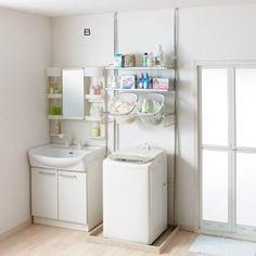 洗濯パンに収まる省スペース洗濯機ラック