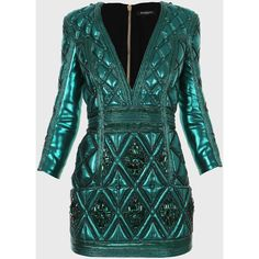 Balmain Three-quarter sleeves embroidered mini-dress ($4,530) ❤ liked on Polyvore featuring dresses, balmain, short dresses, emerald, short green cocktail dress, green cocktail dress, balmain dress, sexy short cocktail dresses and sexy short dresses