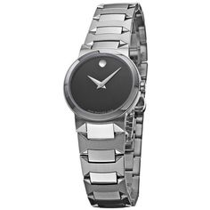Movado Women's 'Temo' Stainless Steel Bracelet Watch ($434) ❤ liked on Polyvore featuring jewelry, watches, black, movado watches, stainless steel jewelry, snap button jewelry, black faced watches and watch bracelet