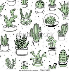 hand-drawn succulents and cactus doodle pattern