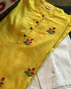 """Available via RangSiyahi """"SOLD OUT """"The pretty lemon has delicate strawberry buds embroidered. It is further embellished with fine pintucks… Neck Designs For Suits, Dress Neck Designs, Stylish Dress Designs, Sleeve Designs, Blouse Designs, Embroidery On Kurtis, Hand Embroidery Dress, Kurti Embroidery Design, Embroidery Neck Designs"""