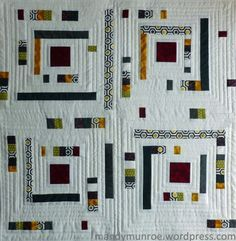 Log Cabin Interrupted - made from patchwork strips with lots of white. Loving the fractured result of these four blocks. Blocks could be made any size and used individually or in combination for bags, quilts, clothes...
