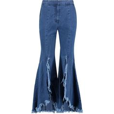 GOEN.J Distressed frayed high-rise flared jeans ($202) ❤ liked on Polyvore featuring jeans, pants, high-waisted jeans, high waisted ripped jeans, blue flare jeans, distressed jeans and flared jeans